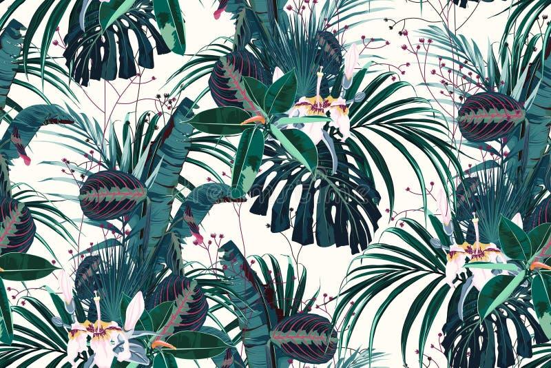 Vector naadloos mooi artistiek helder tropisch patroon met exotisch bos vector illustratie