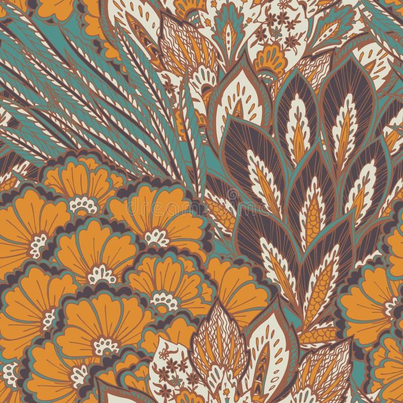 Vector naadloos oostelijk patroon royalty-vrije illustratie