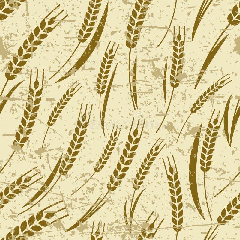 Vector naadloos oud grungepatroon met rijp oor van tarwe stock illustratie