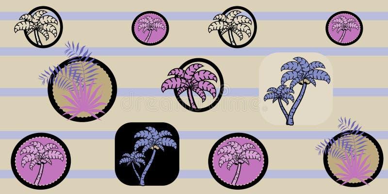 Vector naadloos overzees patroon met palmen op gestreepte achtergrond Beeldverhaaldruk Tropisch patroon royalty-vrije illustratie