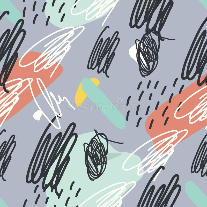 Vector naadloos patroon Abstracte achtergrond met borstelslagen stock illustratie