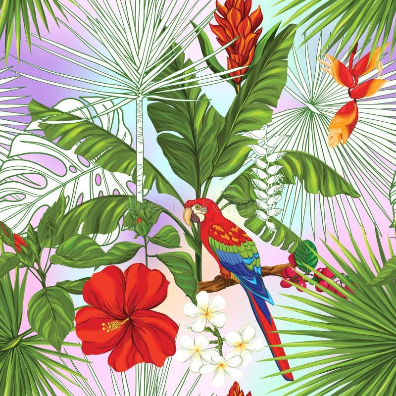 Vector naadloos patroon, achtergrond met papegaai en tropische installaties stock illustratie