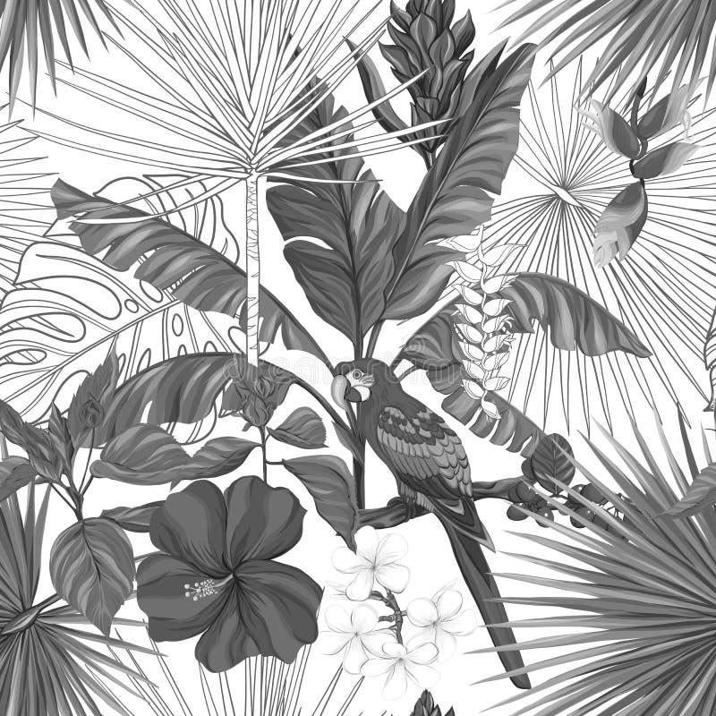 Vector naadloos patroon, achtergrond met papegaai en tropische installaties vector illustratie