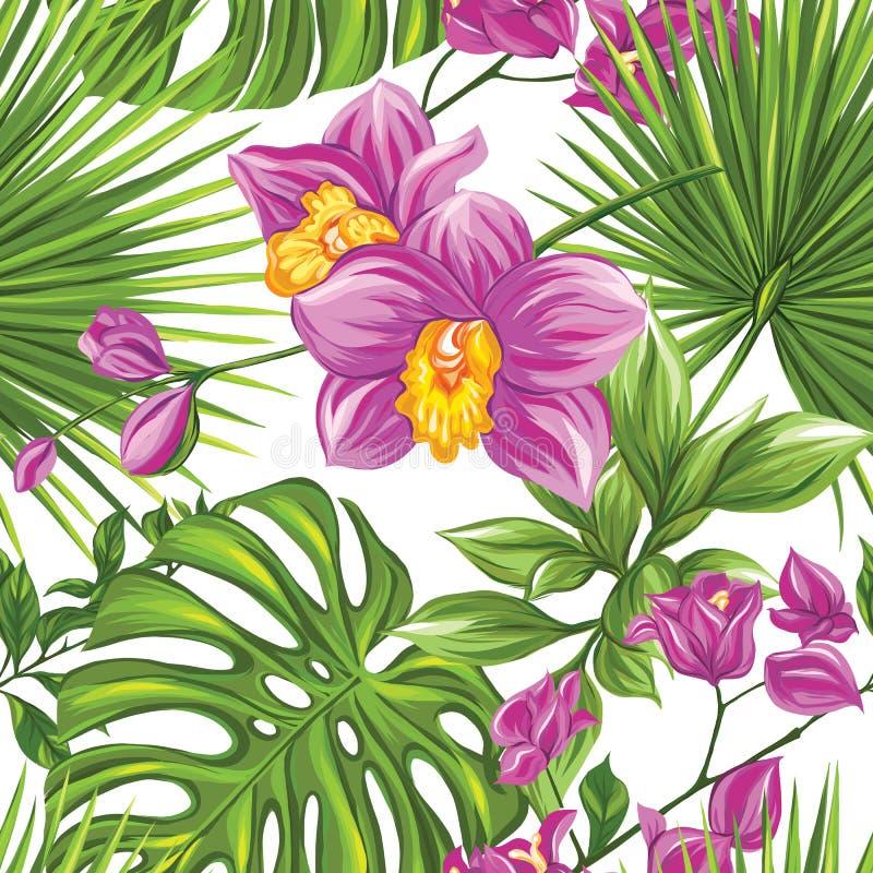 Vector naadloos patroon, achtergrond met tropische installaties stock illustratie