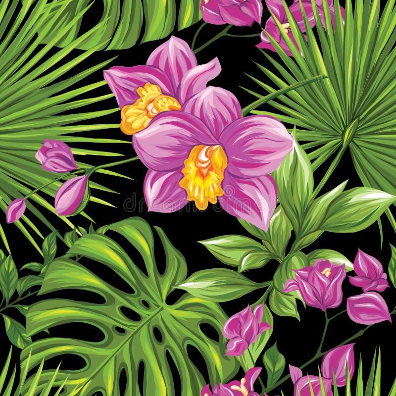 Vector naadloos patroon, achtergrond met tropische installaties royalty-vrije illustratie