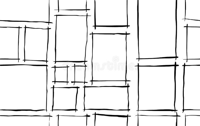 Vector Naadloos patroon Als achtergrond met hand getrokken Kader royalty-vrije illustratie