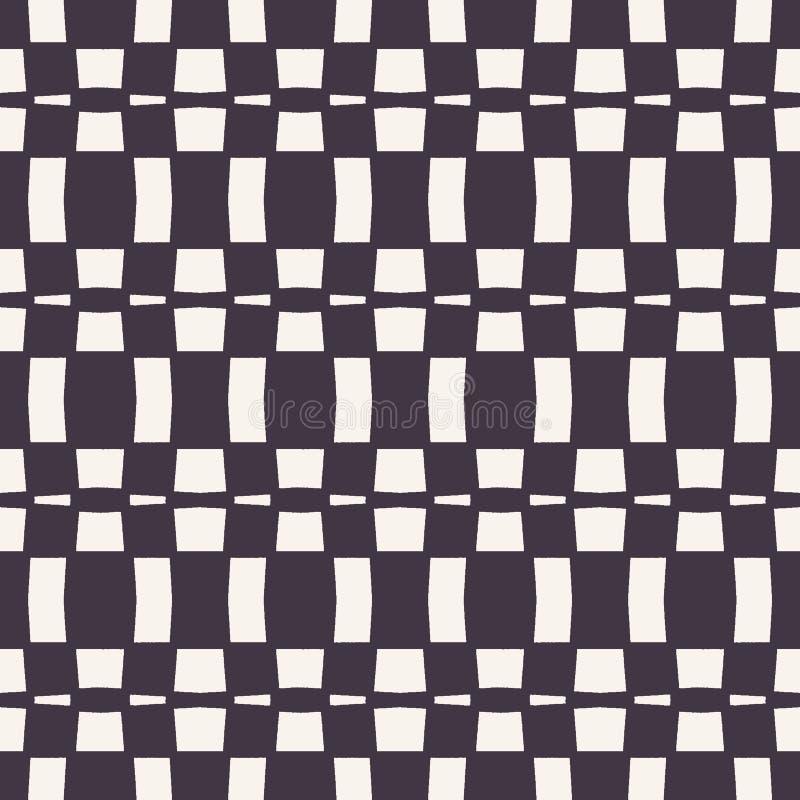 Vector naadloos patroon De abstracte achtergrond van het rechthoekschaakbord Zwart-wit hand getrokken textuurillustratie Moderne  stock illustratie