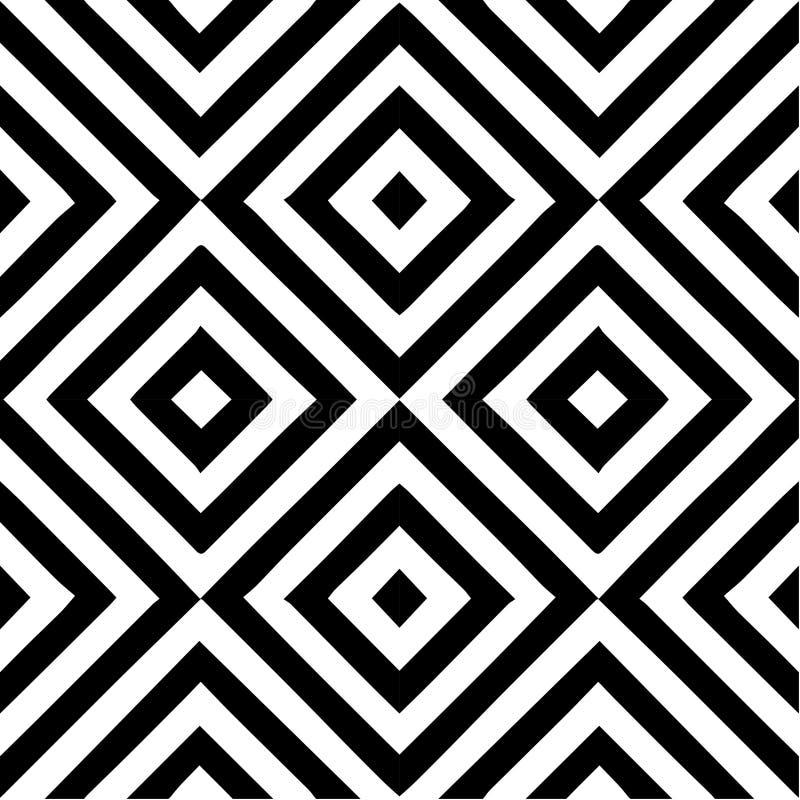 Vector naadloos patroon Decoratief element, ontwerpsjabloon met gestreepte zwart-witte diagonale geneigde lijnen Achtergrond stock illustratie