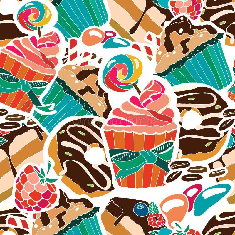 Vector naadloos patroon Desserts, snoepjes vector illustratie