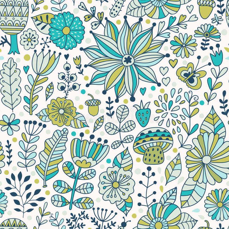 Vector naadloos patroon, doodling ontwerp De hand trekt bloemen en doorbladert Jonge geitjesillustratie, leuke achtergrond De ach royalty-vrije illustratie