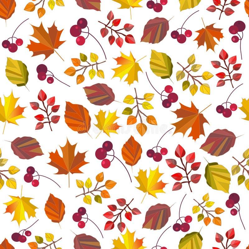 Vector naadloos patroon, druk, textuur, achtergrond met de herfstbladeren en bessen Autumn Colors Dalingsontwerp stock illustratie