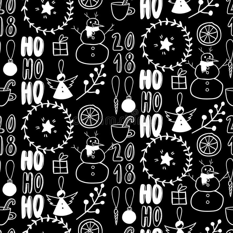 Vector naadloos patroon Eenvoudige zwart-witte krabbel Sneeuwman, slinger, citrusvrucht, engel, heden, takje Kerstmis, Nieuwjaar stock illustratie
