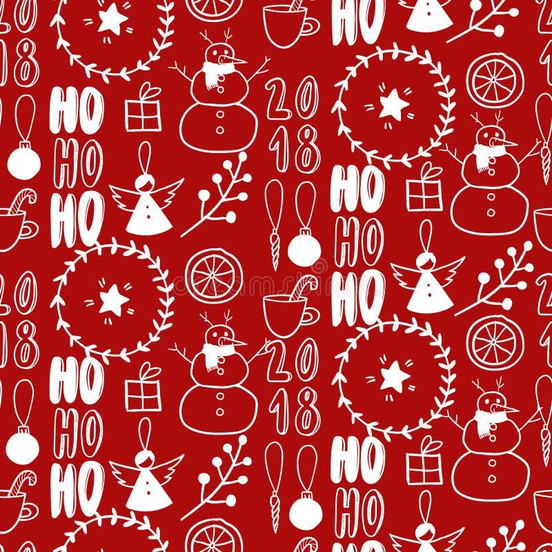 Vector naadloos patroon Eenvoudige zwarte witte krabbel Sneeuwman, slinger, citrusvrucht, engel, heden, takje op rood Nieuwe Kers vector illustratie