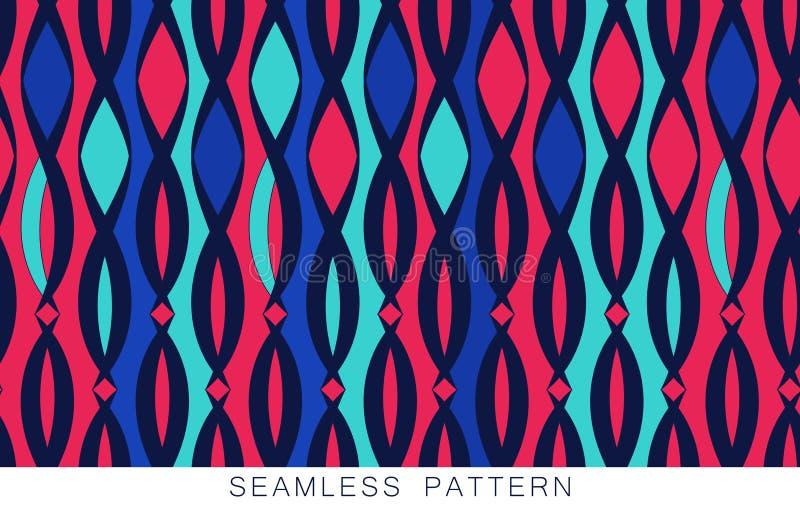 Vector naadloos patroon Eindeloze textuur in blauwe turkooise roze kleuren Heldere Abstracte Achtergrond De lente en de Zomer royalty-vrije illustratie