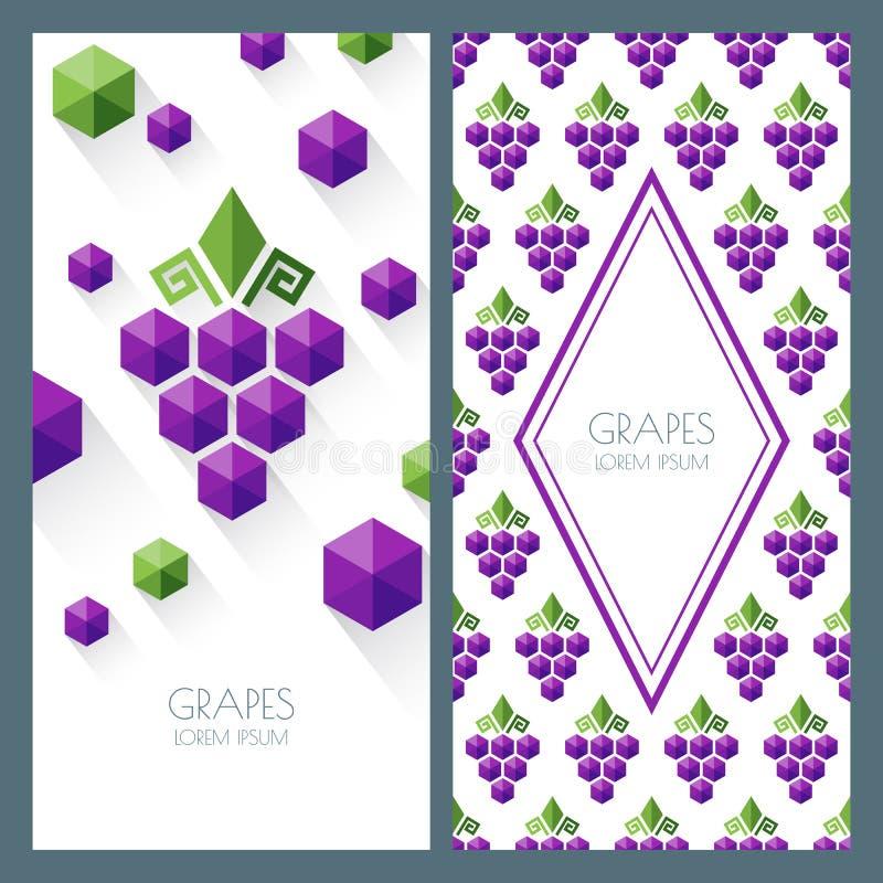 Vector naadloos patroon en abstracte achtergrond met druiven vector illustratie