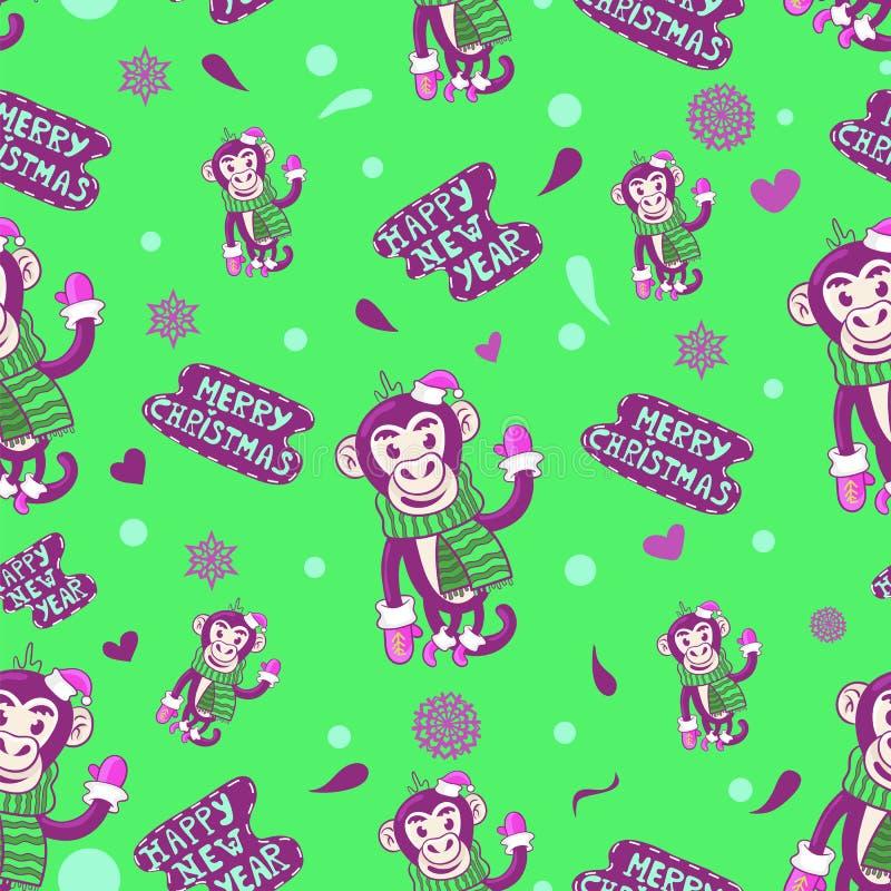 Vector naadloos patroon Gelukkig Nieuwjaar en Vrolijke Kerstmis royalty-vrije illustratie
