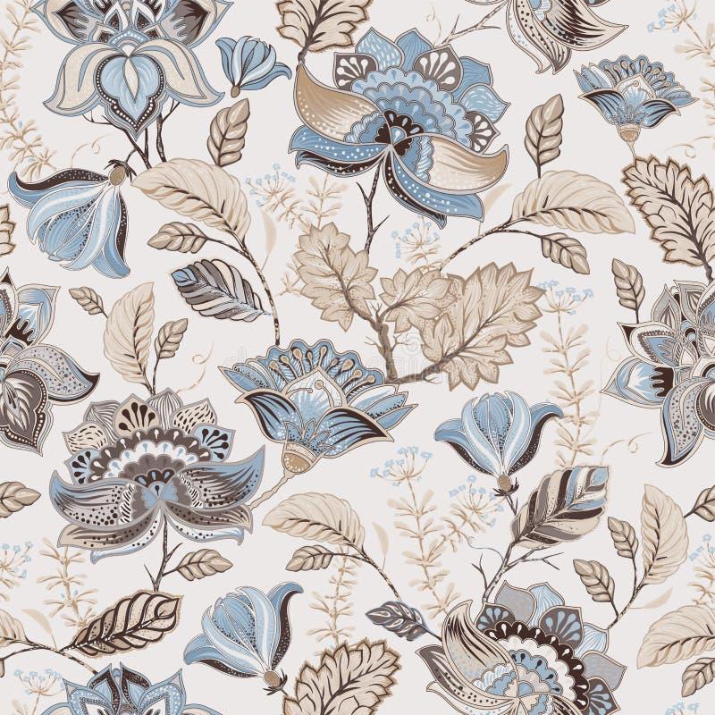 Vector naadloos patroon Indisch bloemenornament Kleurrijk decoratief behang Paisley en installaties Vector illustratie stock illustratie