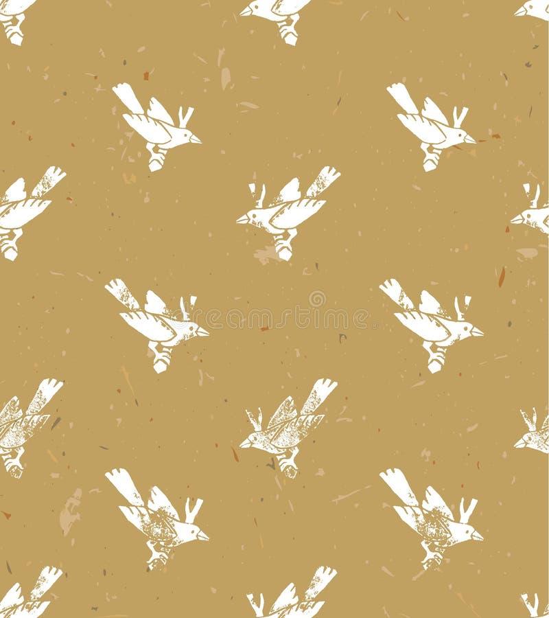 Vector naadloos patroon linocut stijl met witte vogels Vectorgrungeontwerp voor kaarten, behang en achtergronden stock illustratie