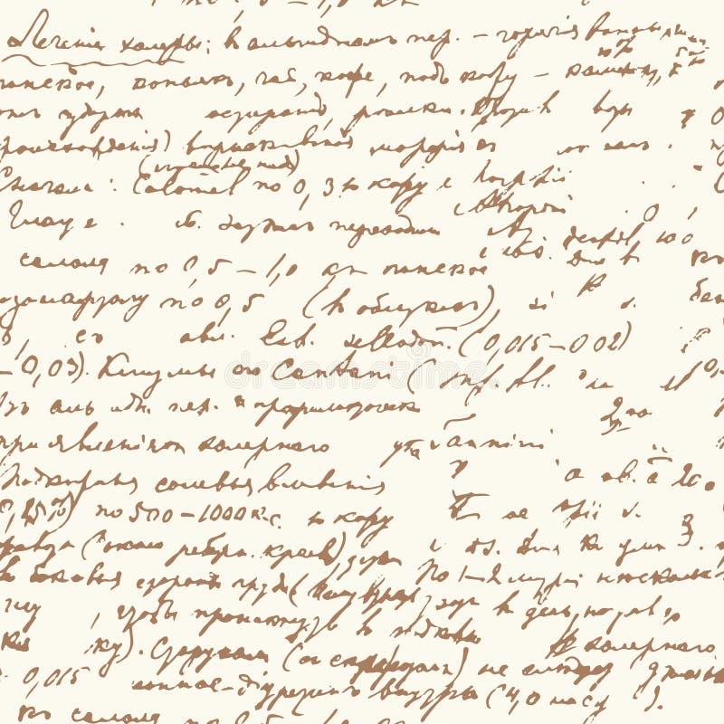 Vector naadloos patroon met abstracte handschriftteksten Uitstekend manuscript Ontzagwekkend naadloos patroon voor uw ontwerp stock illustratie