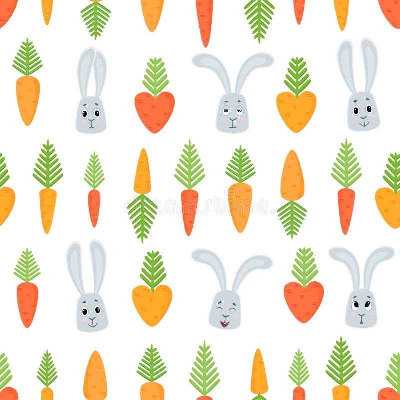 Vector naadloos patroon met beeldverhaalkonijnen en wortelen royalty-vrije illustratie