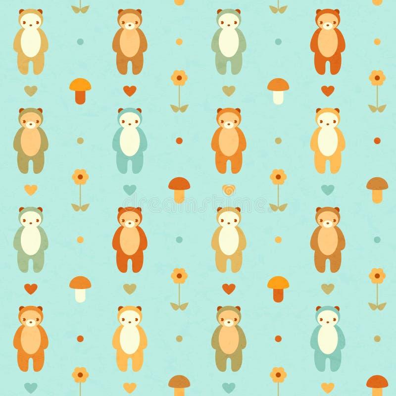 Vector naadloos patroon met beren royalty-vrije illustratie