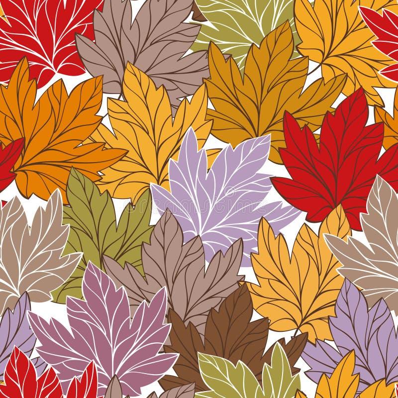 Vector naadloos patroon met bladeren royalty-vrije illustratie