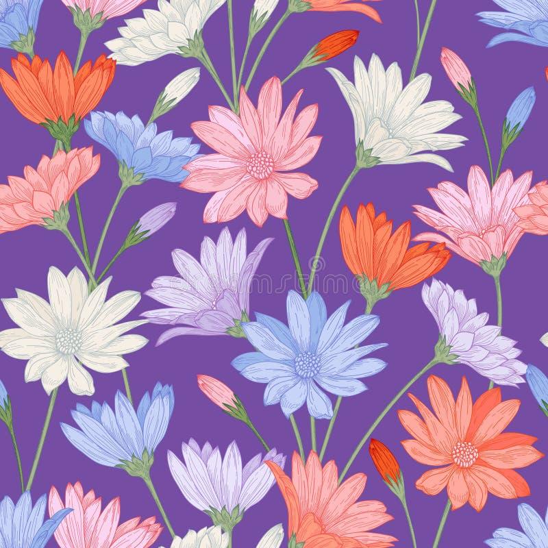 Vector naadloos patroon met bloemen royalty-vrije illustratie