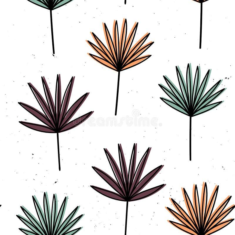 Vector naadloos patroon met bloemen Skandinavische motieven Hand getrokken stijl vector illustratie