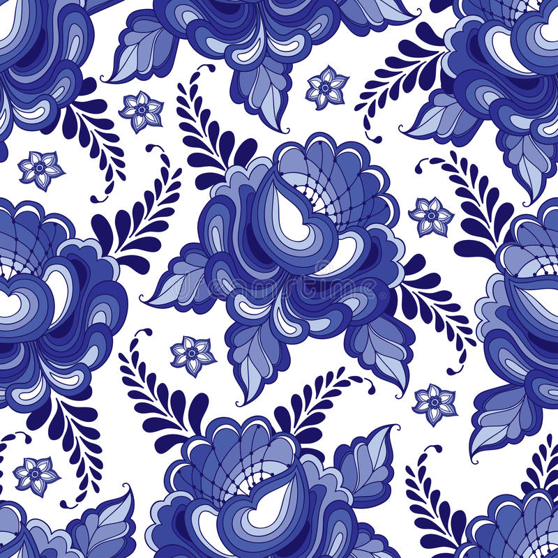 Vector naadloos patroon met bloemenmotief in traditionele Russische stijl Gzhel op de witte achtergrond stock illustratie