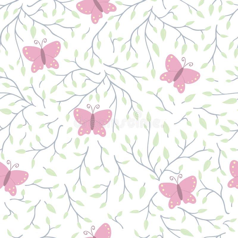 Vector naadloos patroon met boombrunches, bladeren en vlinders op transparante achtergrond royalty-vrije illustratie