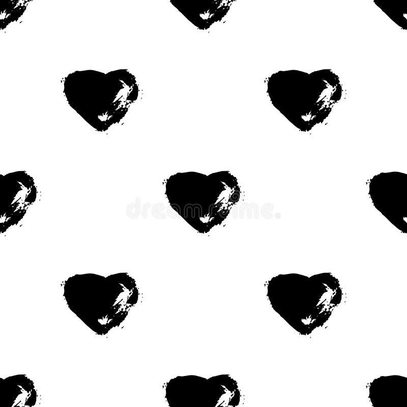 Vector naadloos patroon met borstel heartss Zwarte kleur op witte achtergrond Hand geschilderde landhuistextuur Inktlandhuis royalty-vrije illustratie