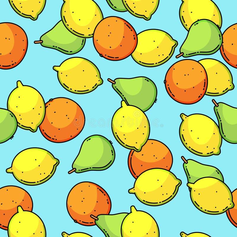 Vector naadloos patroon met citroen, peer en mandarin vector illustratie