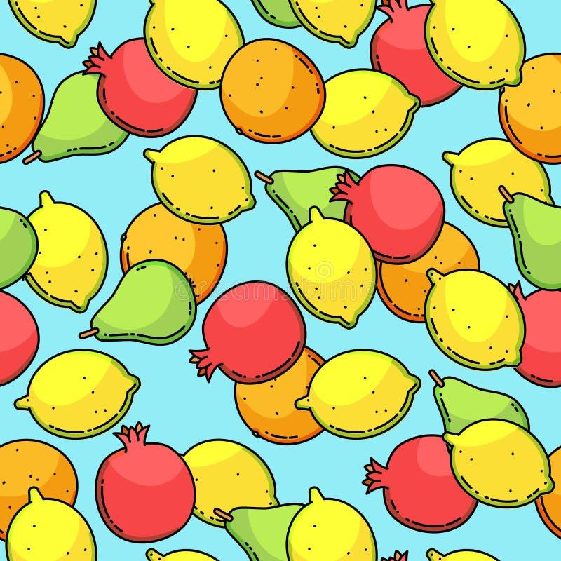 Vector naadloos patroon met citroen, peer, mandarin en granaat royalty-vrije illustratie