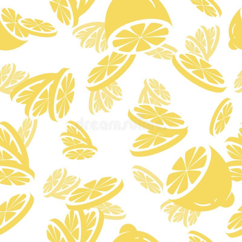 Vector naadloos patroon met citroenplakken De achtergrond van het fruit royalty-vrije illustratie