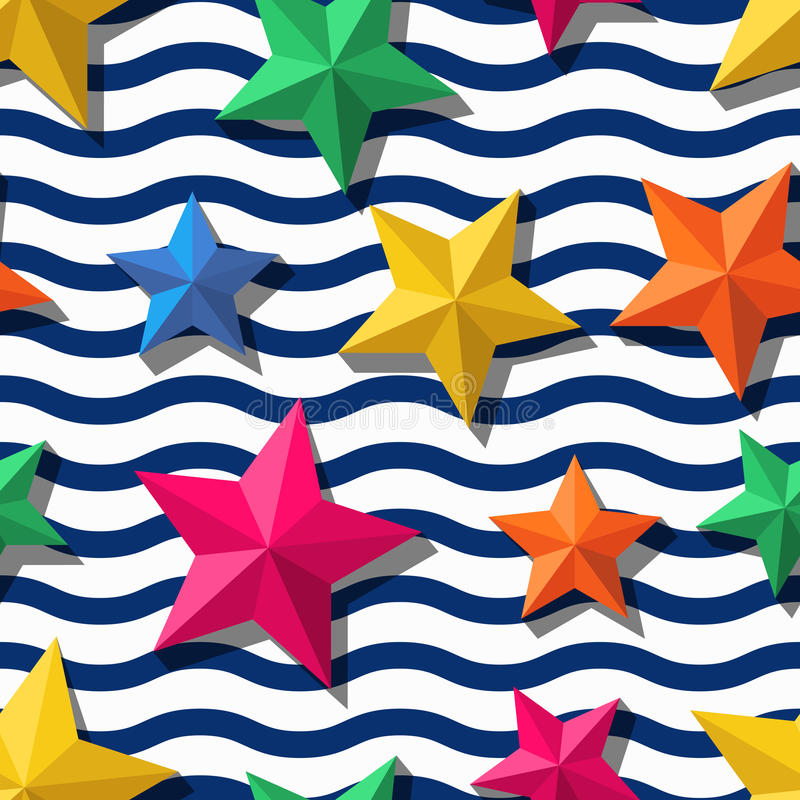 Vector naadloos patroon met 3d gestileerde sterren en en blauwe golvende strepen stock illustratie