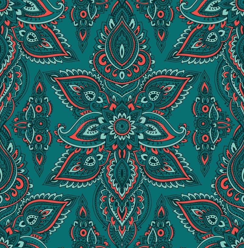 Vector naadloos patroon met de bloemenelementen van hennamehndi royalty-vrije illustratie