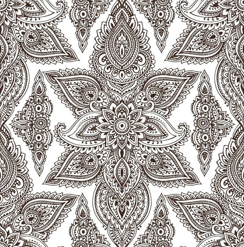 Vector naadloos patroon met de bloemenelementen van hennamehndi stock illustratie
