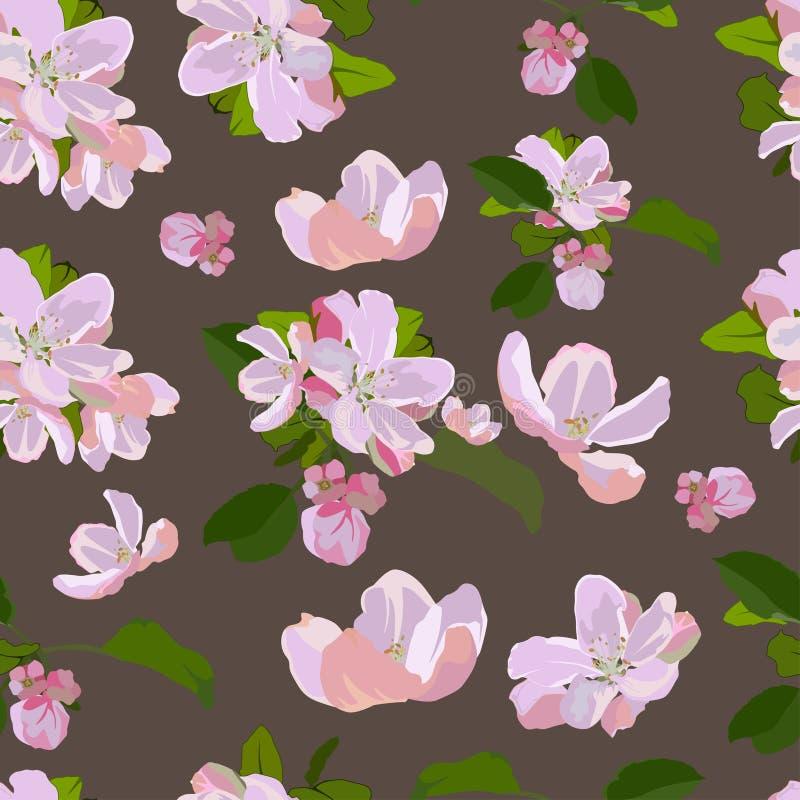 Vector naadloos patroon met de bloesem van de appelboom royalty-vrije illustratie