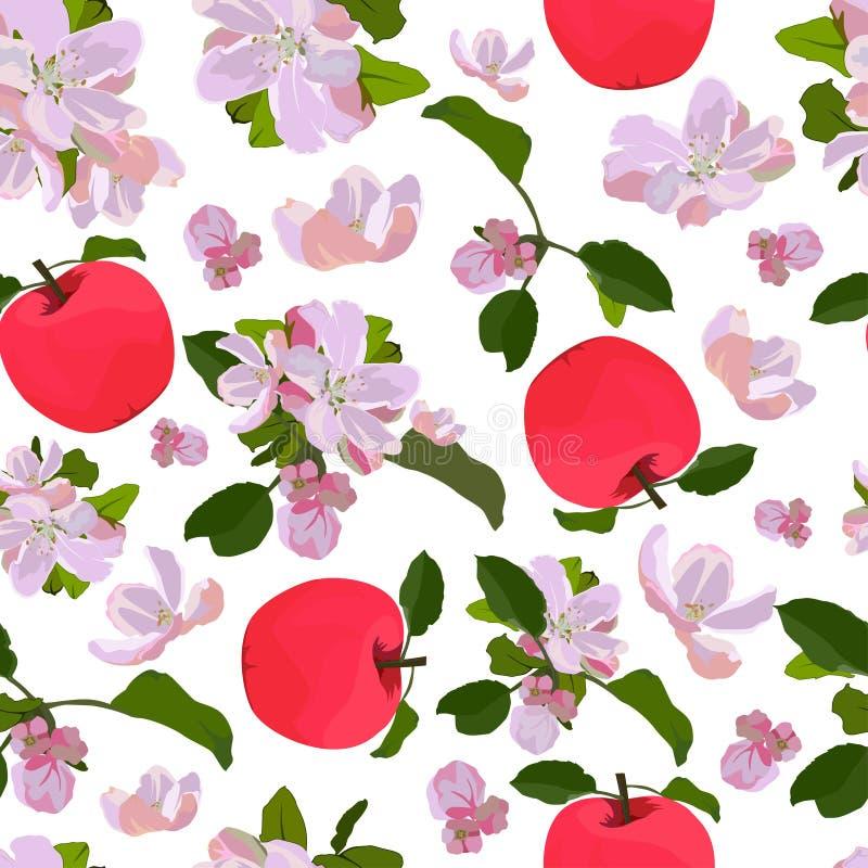 Vector naadloos patroon met de bloesem van de appelboom stock illustratie