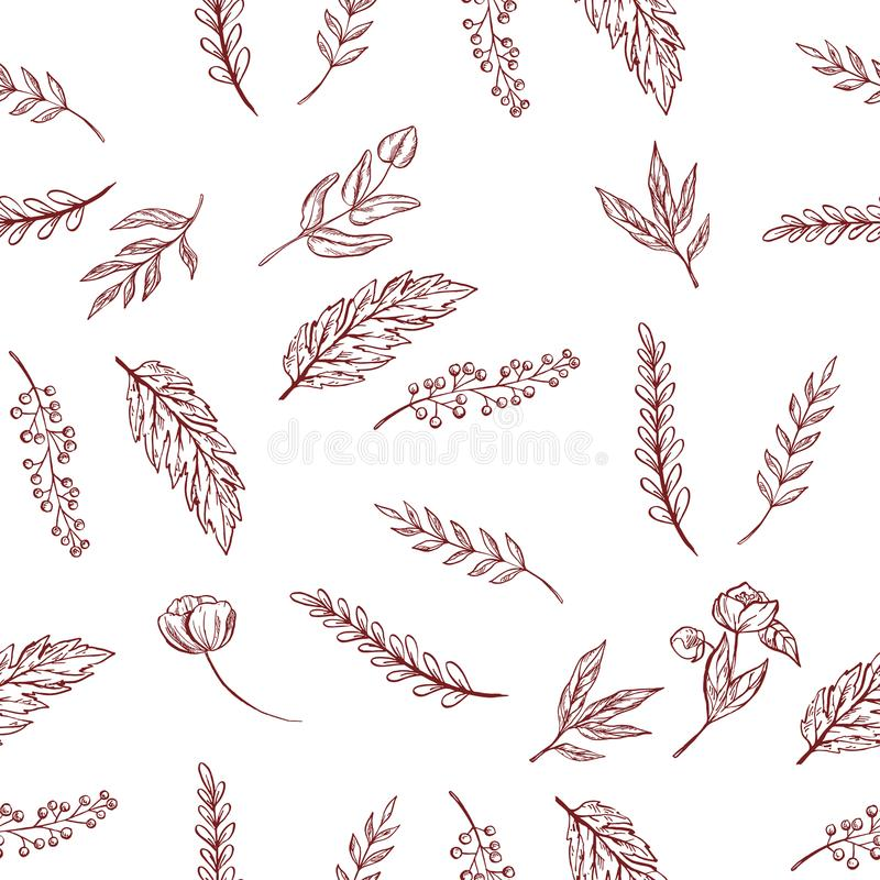 Vector naadloos patroon met de contouren aangegeven van bloemen en bladeren, achtergrond stock illustratie