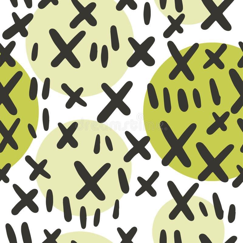Vector naadloos patroon met de hand getrokken die elementen van de cactusnaald op witte achtergrond worden geïsoleerd vector illustratie
