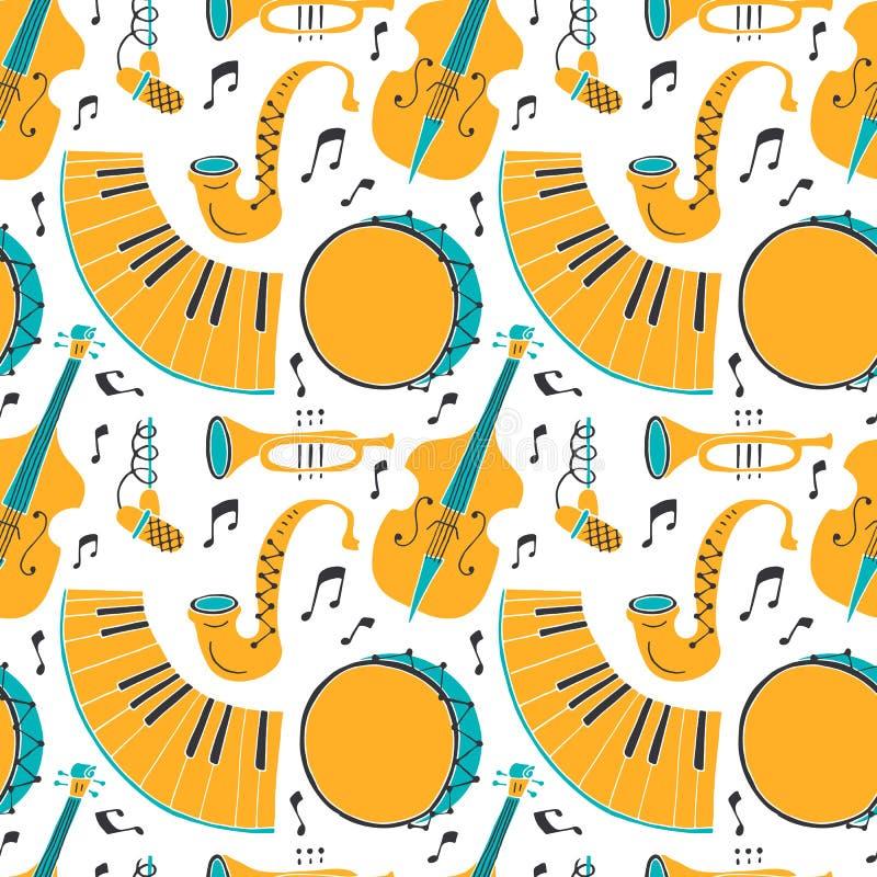 Vector Naadloos patroon met de jazzconcept van muziekinstrumenten royalty-vrije illustratie