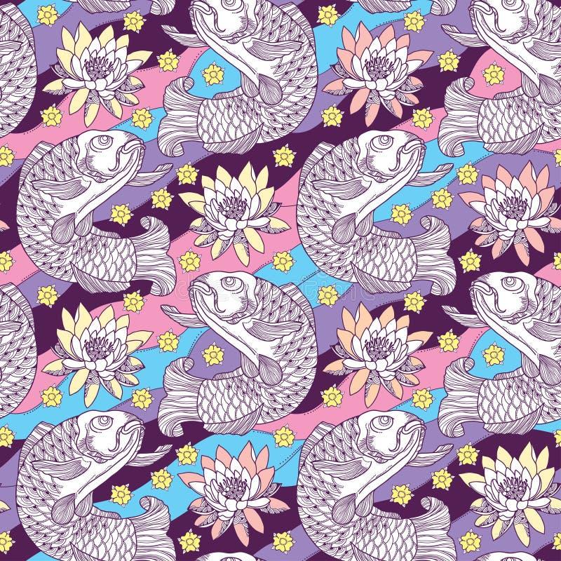 Vector naadloos patroon met de karper en de lotusbloem van overzichtskoi of waterlelie op de achtergrond in roze, blauw, viooltje royalty-vrije illustratie