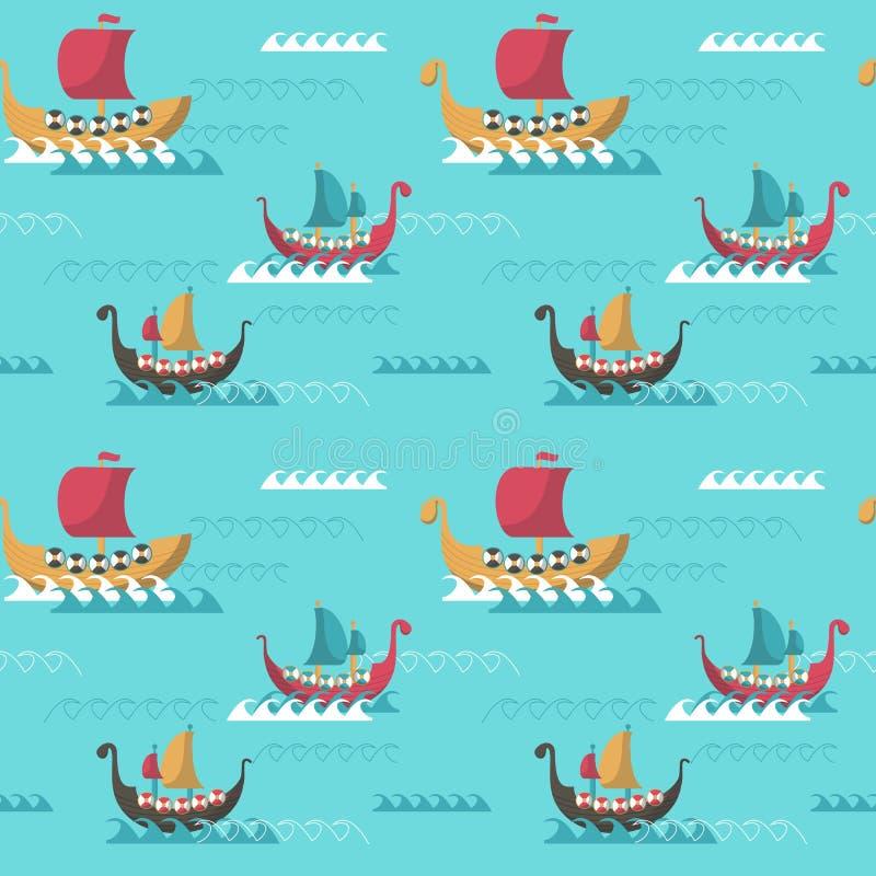 Vector naadloos patroon met de leeftijdslongships van Viking vector illustratie