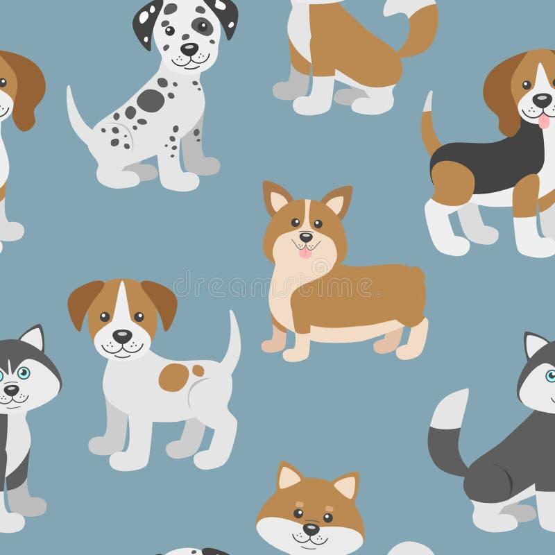 Vector naadloos patroon met de leuke puppy van de beeldverhaalhond royalty-vrije illustratie
