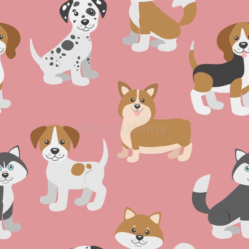 Vector naadloos patroon met de leuke puppy van de beeldverhaalhond stock illustratie