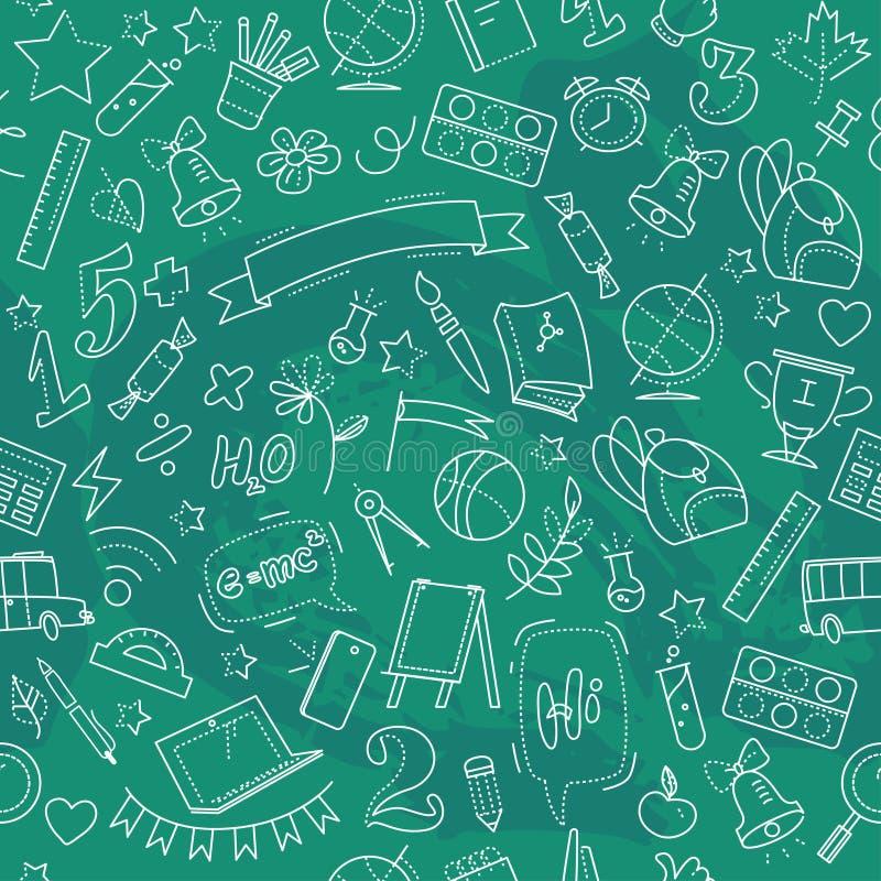 Vector naadloos patroon met de levering van de krabbelschool op groene achtergrond royalty-vrije illustratie