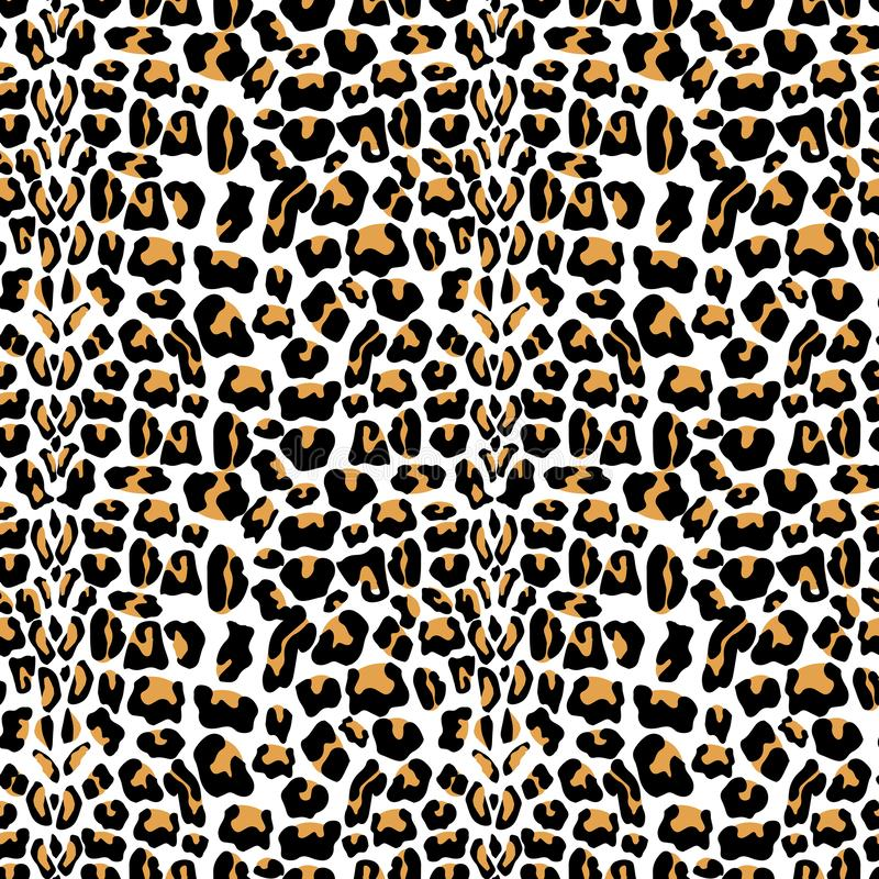 Vector naadloos patroon met de textuur van het luipaardbont Het herhalen van de achtergrond van het luipaardbont voor textielontw vector illustratie