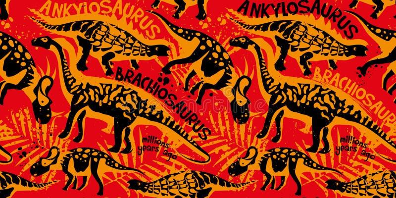 Vector naadloos patroon met Dino stock illustratie