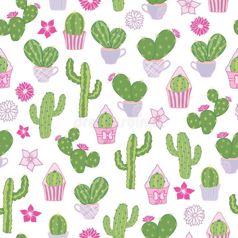 Vector naadloos patroon met een woestijn vijgcactus en andere cactussen stock illustratie